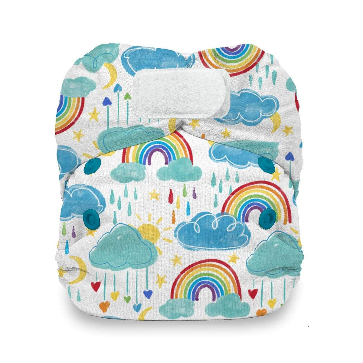 Thirsties Natural Newborn Hook & Loop All In One Diaper - Rainbow