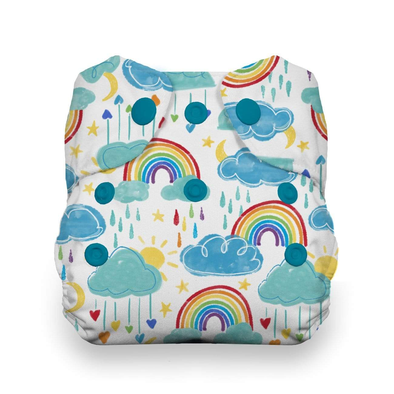 Thirsties Natural Newborn Snap All In One Diaper - Rainbow