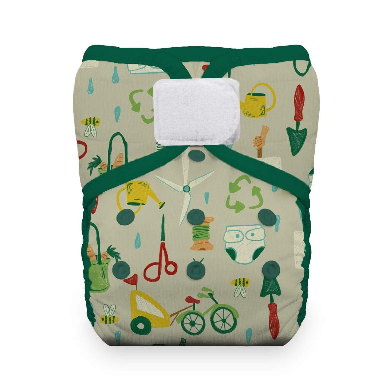 Thirsties Natural One Size Hook and Loop Pocket Diaper - Green Scene