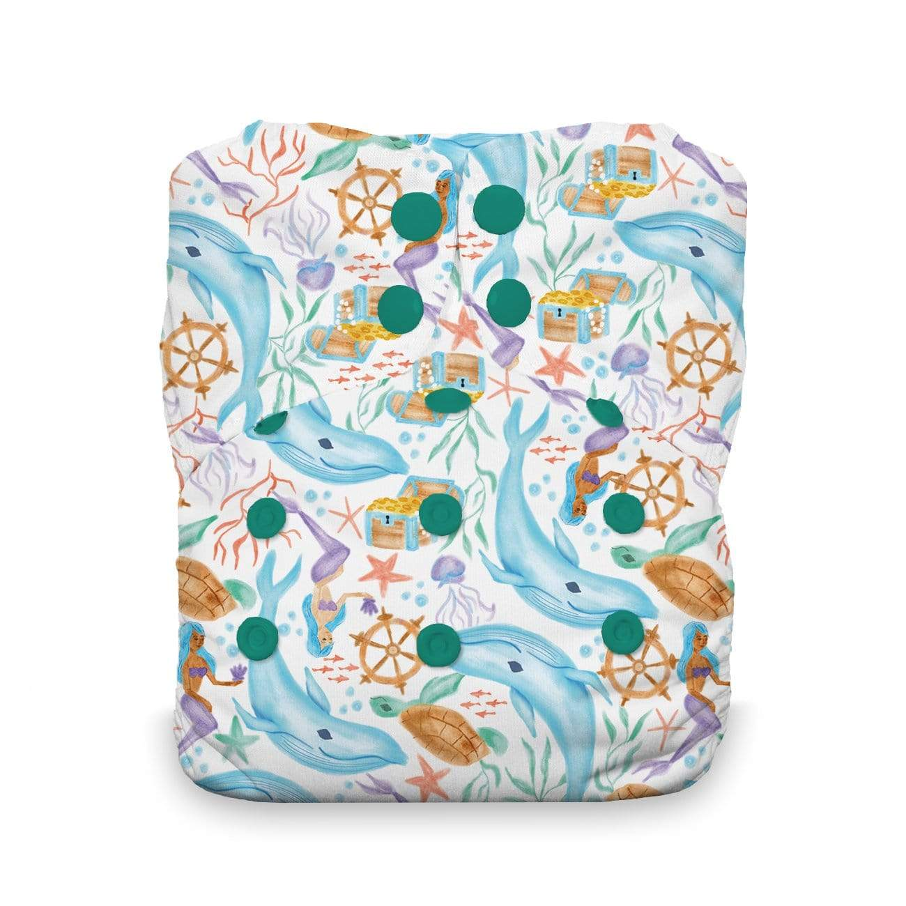 Thirsties Natural One Size Snap All In One Diaper - Mermaid Lagoon