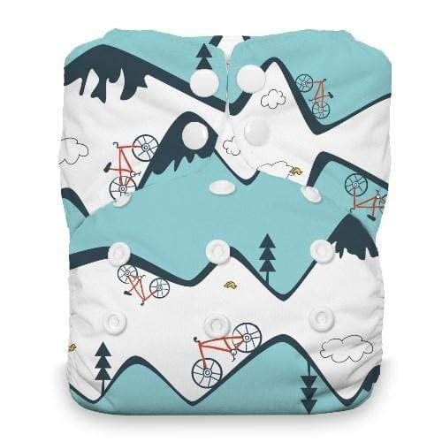 Thirsties Natural One Size Snap All In One Diaper - Mountain Bike