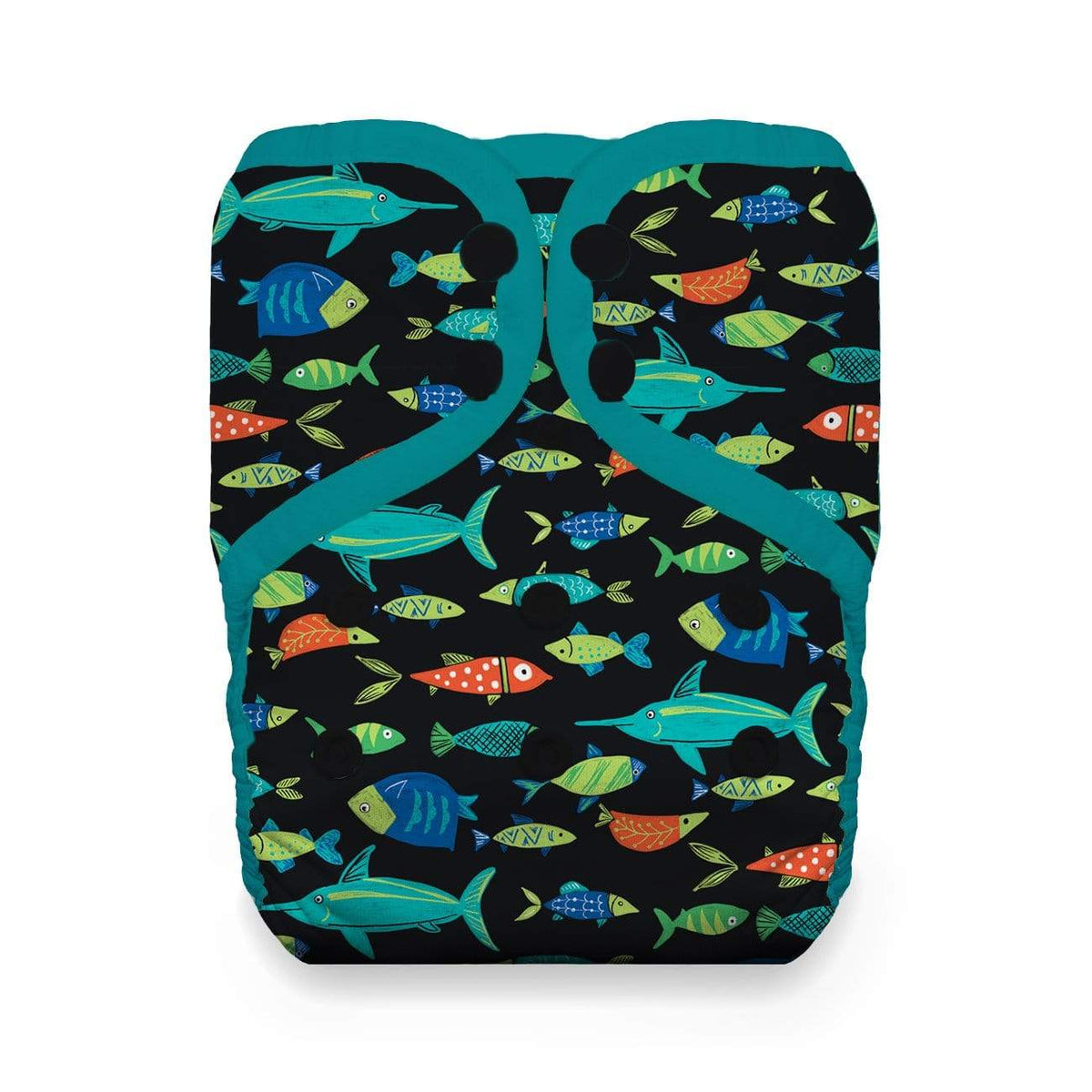 Thirsties Natural One Size Snap Pocket Diaper - Fish Tales