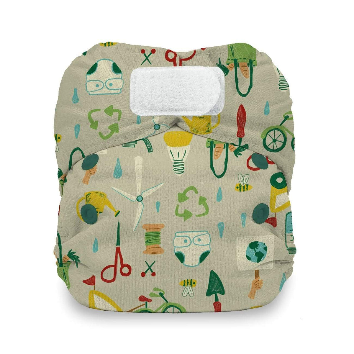 Thirsties Newborn Hook and Loop All In One Diaper - Green Scene Newborn