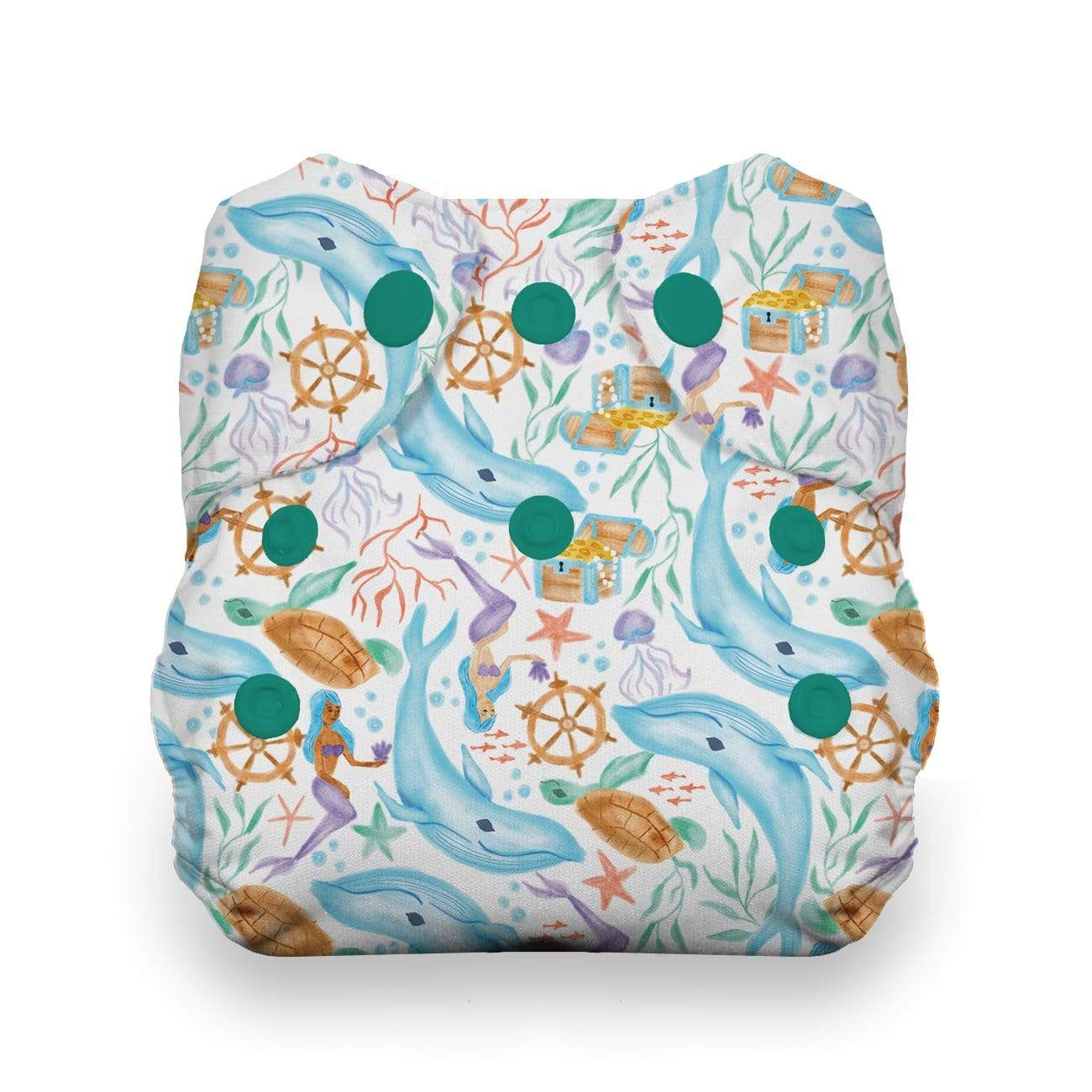 Thirsties Newborn Snap All In One Diaper - Mermaid Lagoon
