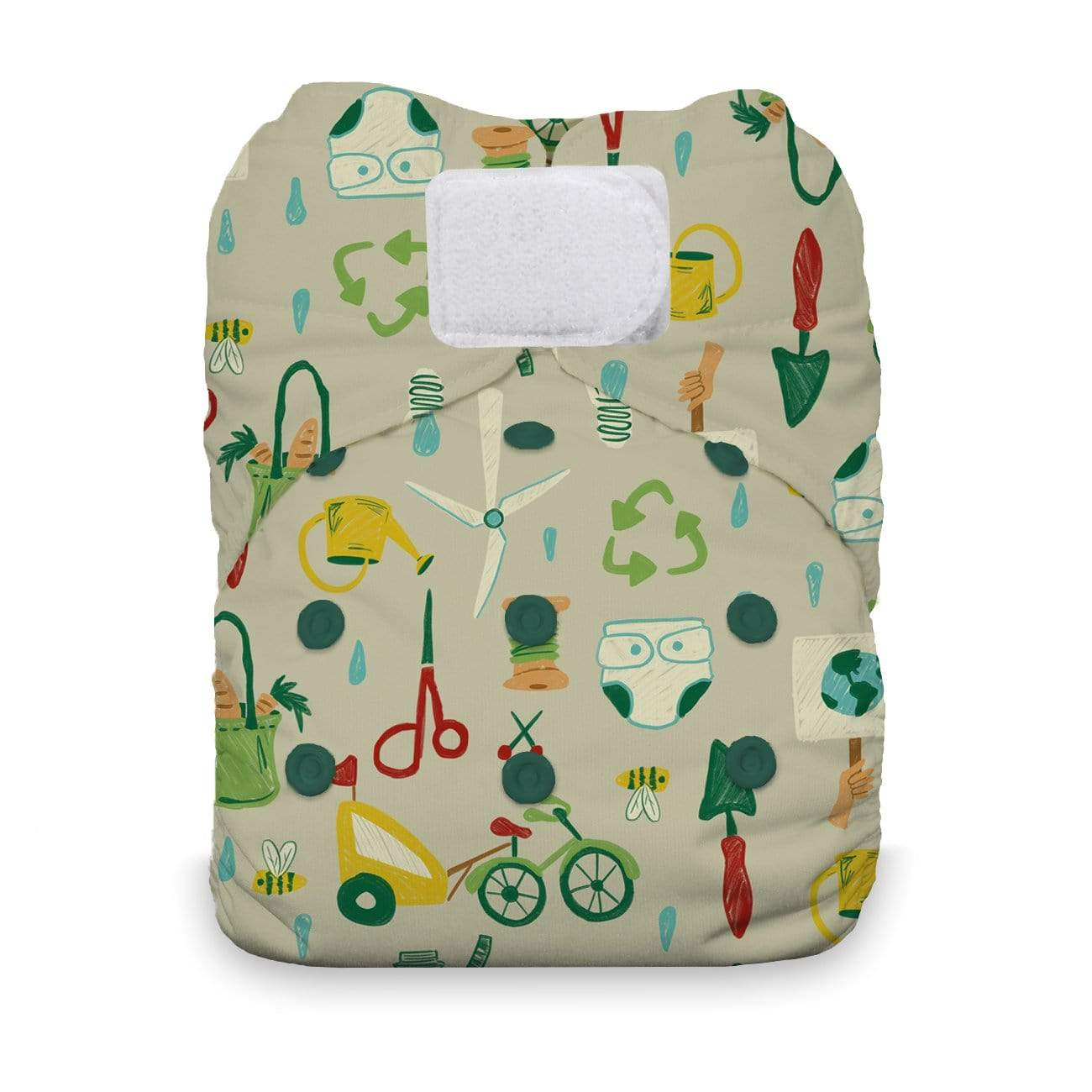 Thirsties One Size Hook and Loop All In One Diaper - Green Scene