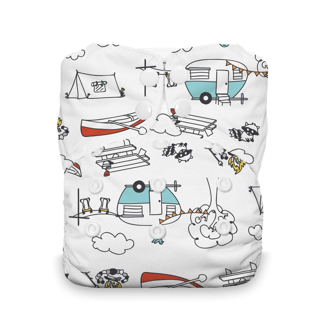 Thirsties One Size Natural Stay Dry Snap All In One - Happy Camper