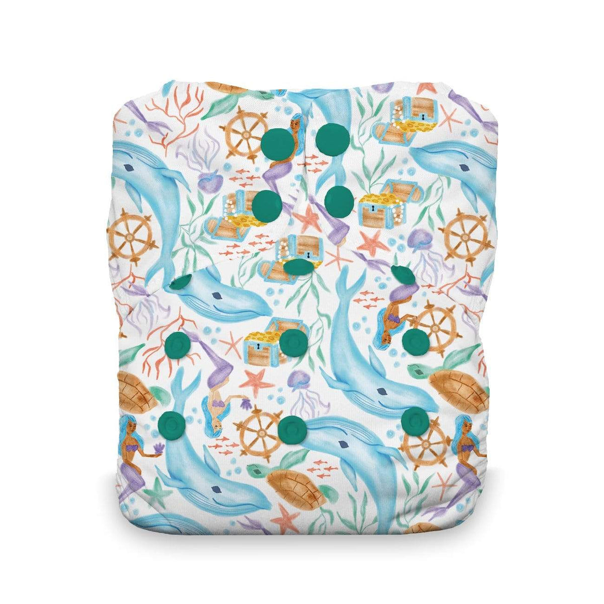 Thirsties Stay Dry Natural Snap One Size All in One Diaper - Mermaid Lagoon