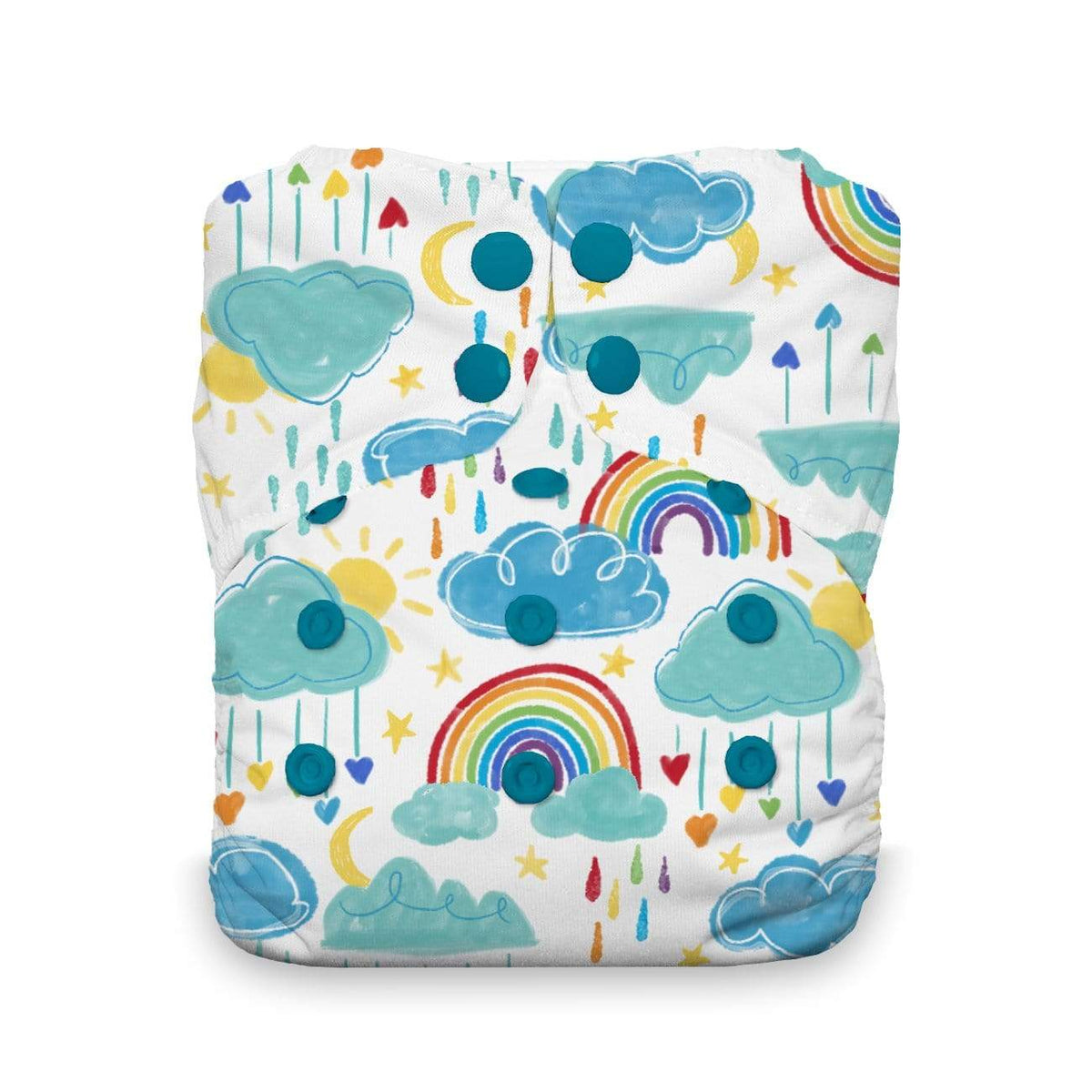 Thirsties Stay Dry Natural Snap One Size All in One Diaper - Rainbow