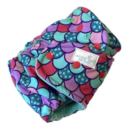 Twinkie Little Tush Fusion Cotton Velour Fitted Diaper - Dream a Little, Mermaid Scales (Turned)