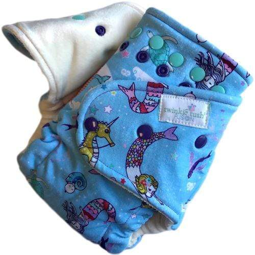 Twinkie Teenie Tush Fusion Fitted Diaper - Swim a Little, Mermaid (Serged) Newborn