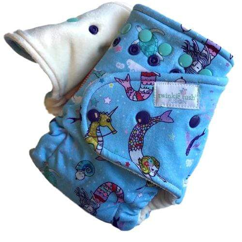 Twinkie Tush Fushion Organic Bamboo Velour Fitted Diaper - Swim a Little, Mermaid (Turned)