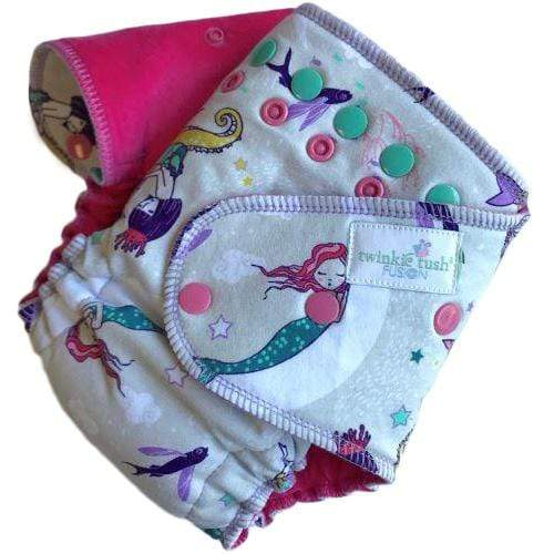 Twinkie Tush Fusion Cotton Velour Fitted Diaper - Dream a Little, Mermaid (Serged)