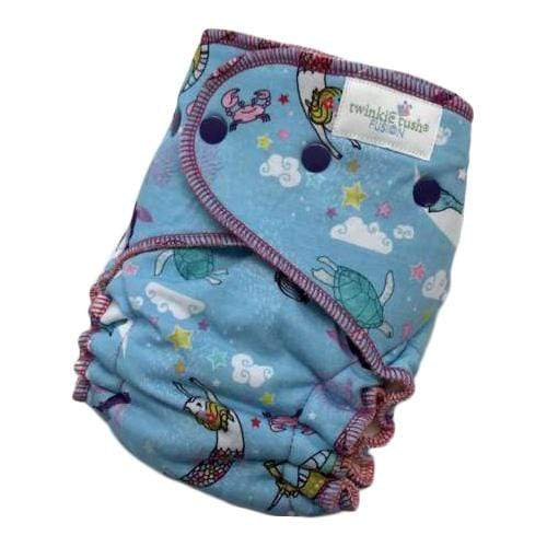 Twinkie Tush Fusion Organic Bamboo Velour Fitted Diaper - Swim a Little, Mermaid (Serged)