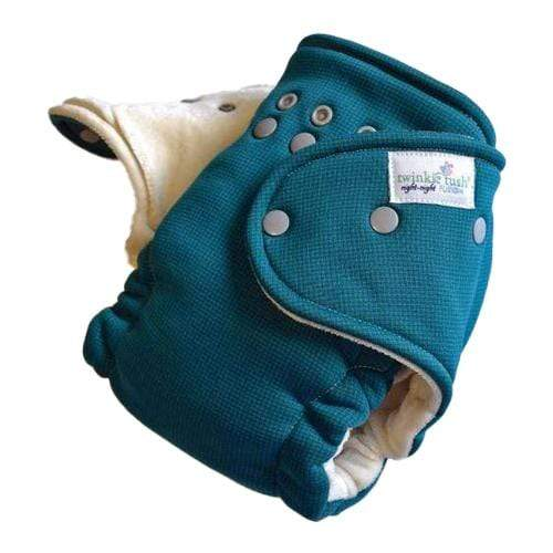 Twinkie Tush Night Night Fusion Organic Bamboo Velour Fitted Diaper - Teal (Turned)
