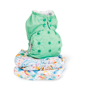 Stack of Thirsties Diapers