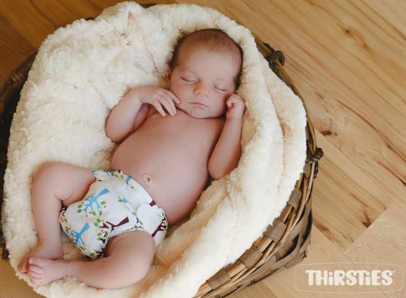 baby in thirsties cloth diapers