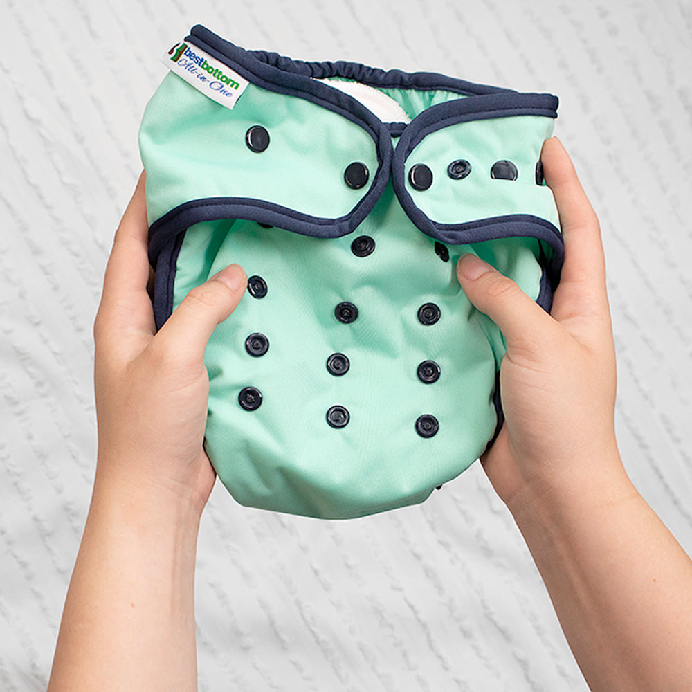 Person holding Best Bottom One Size All in One Cloth Diaper