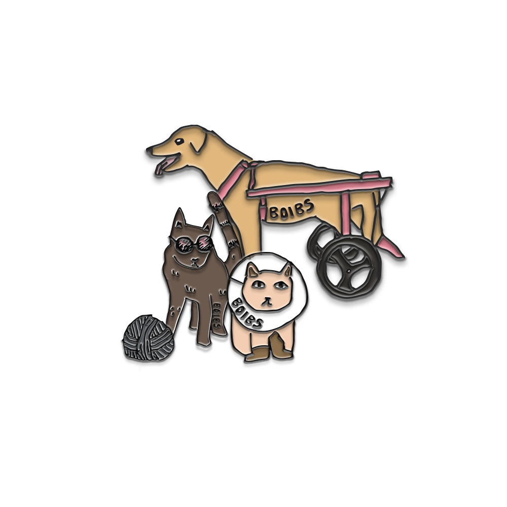 One-Eyed Pug & Friends Pin