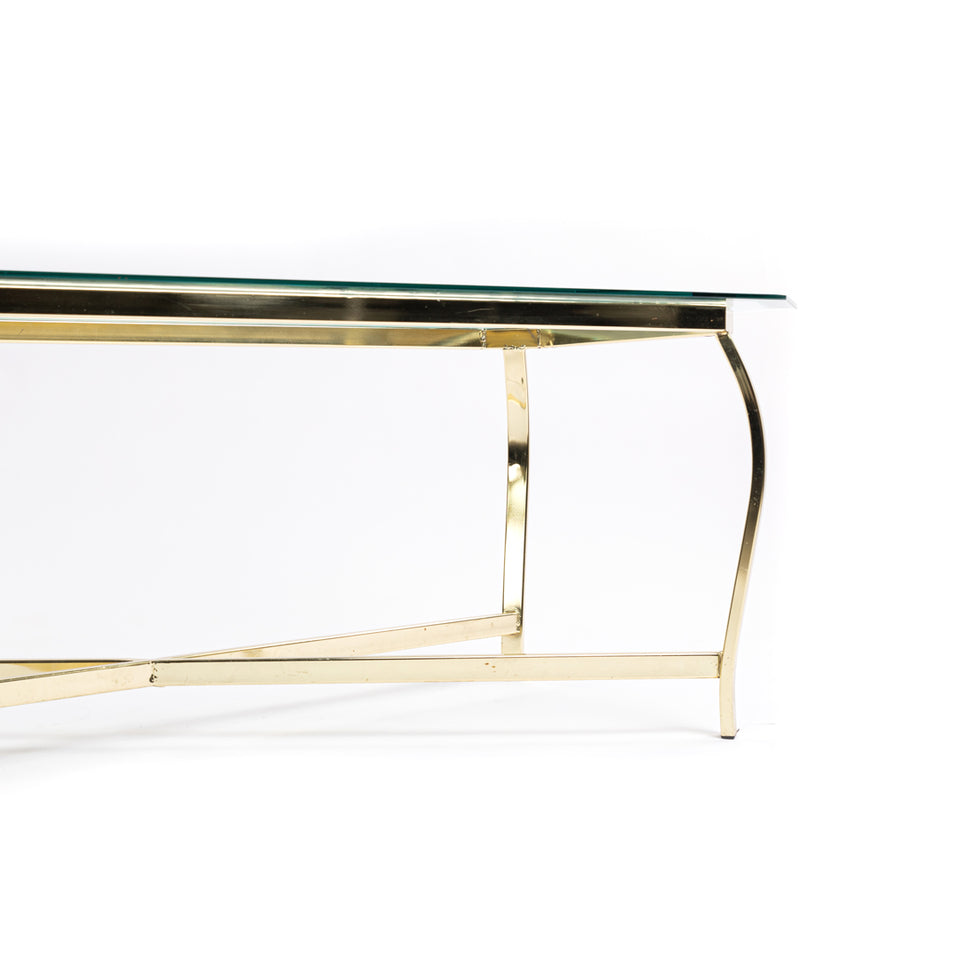 Glass Table With Gold Trim