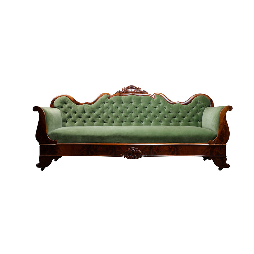 Green Velvet Antique Queen Anne Sofa