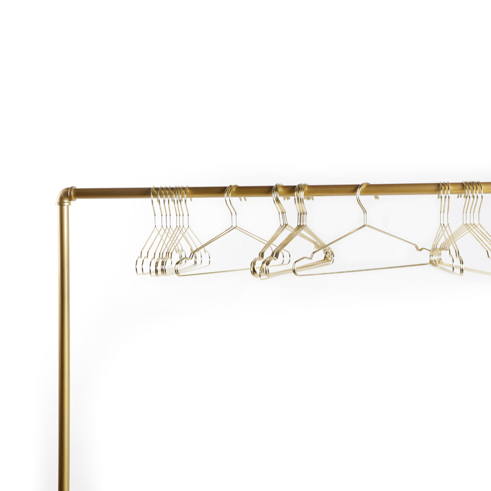 Gold Rolling Clothing Rack w/ Gold Hangers