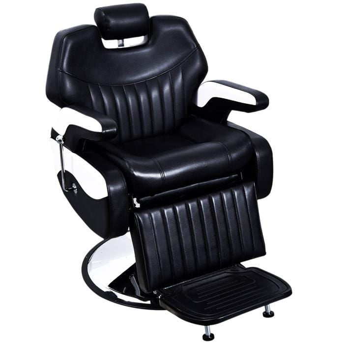 Black- Professional Black & White Barber Chair - 2689A