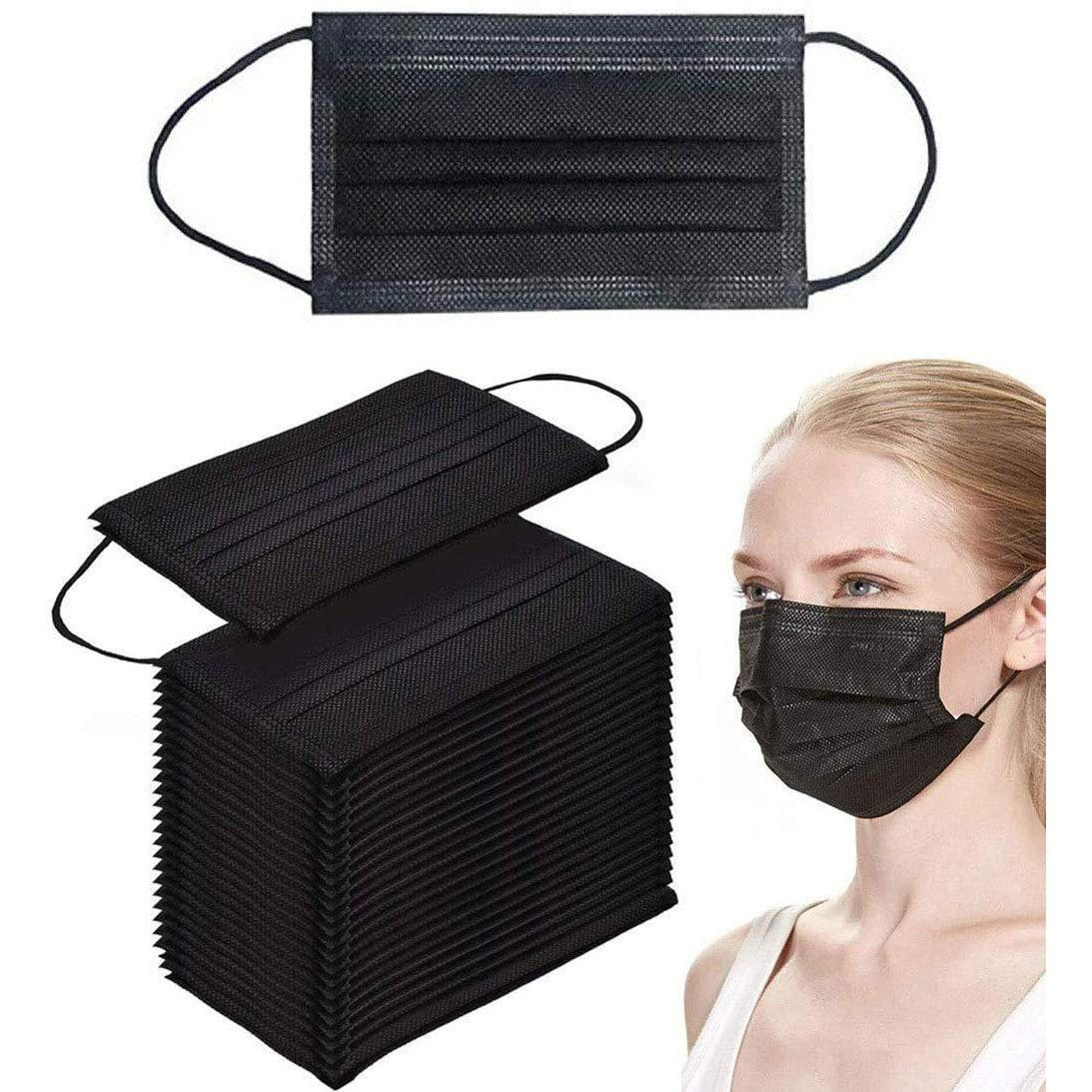 Face mask, Disposable mask, Black mask, 3 layer mask, 3 ply mask