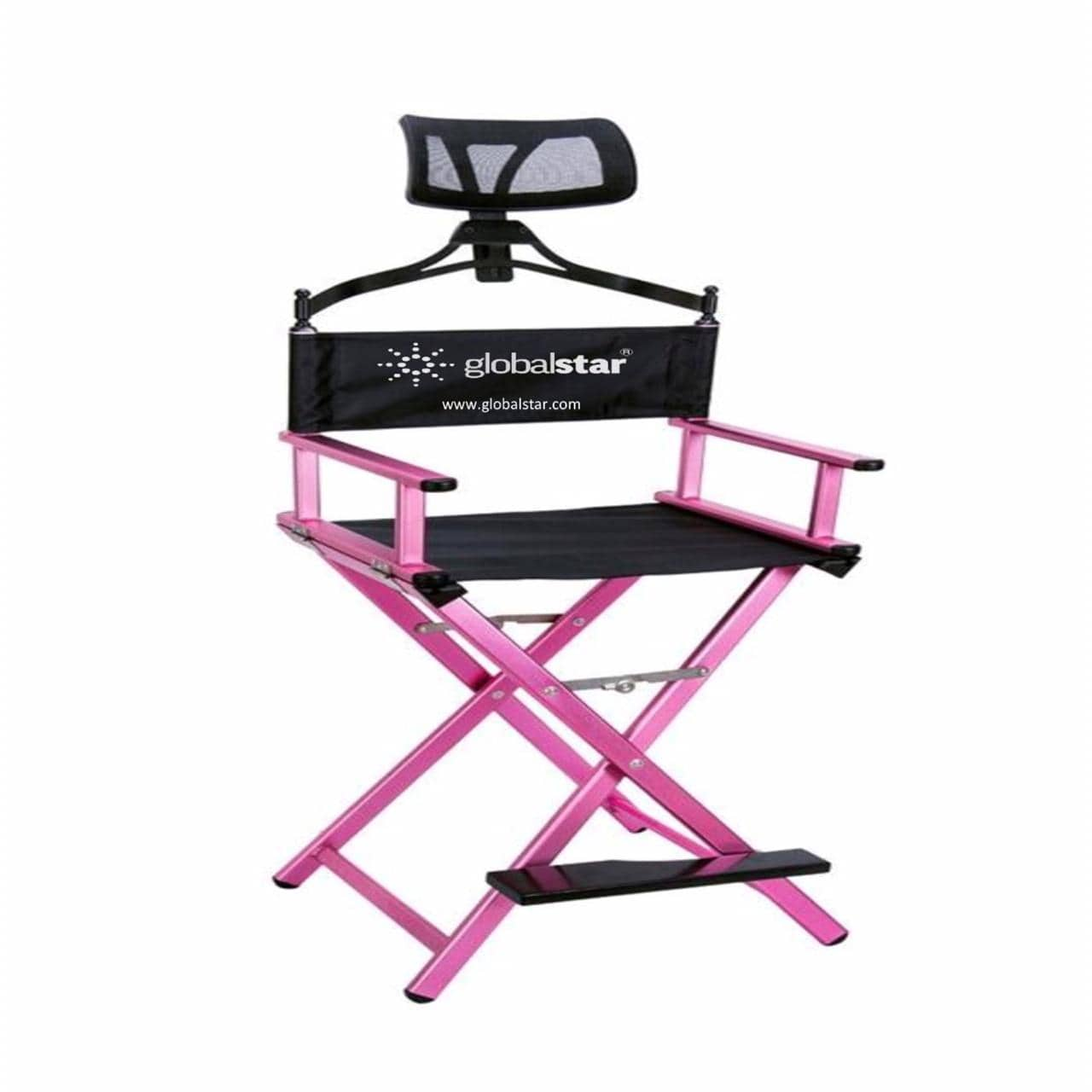 Globalstar Foldable Tall Makeup Chair With Headrest Color Pink - MY739P