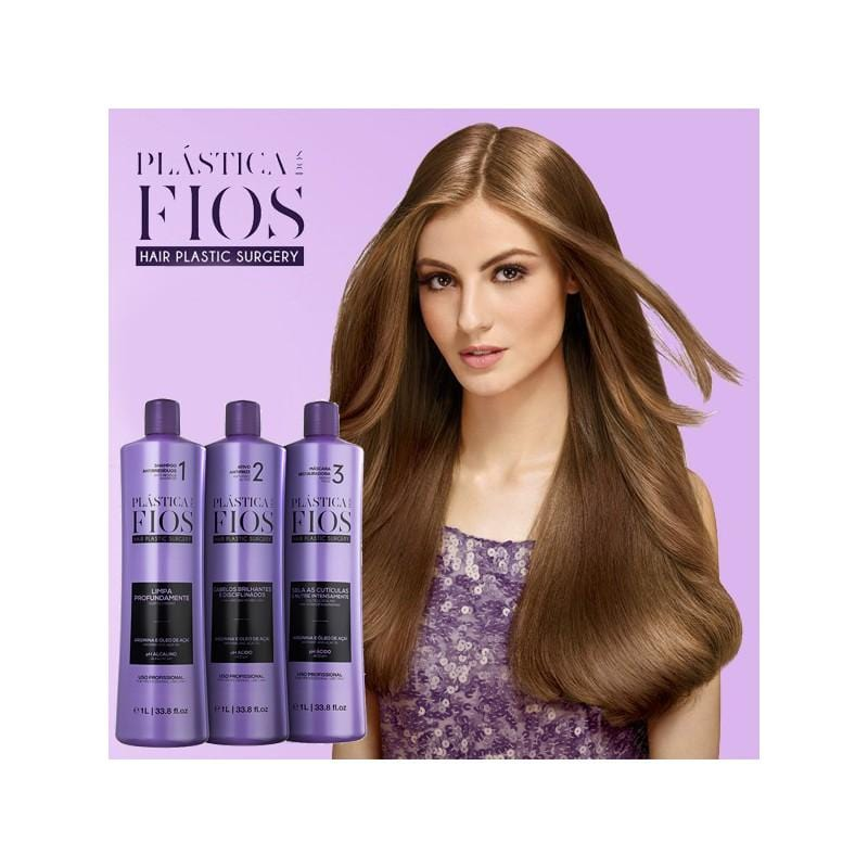 Cadiveu Plastica Dos Fios Brazilian Hair Treatment Set in 3 Steps - 1000 ml