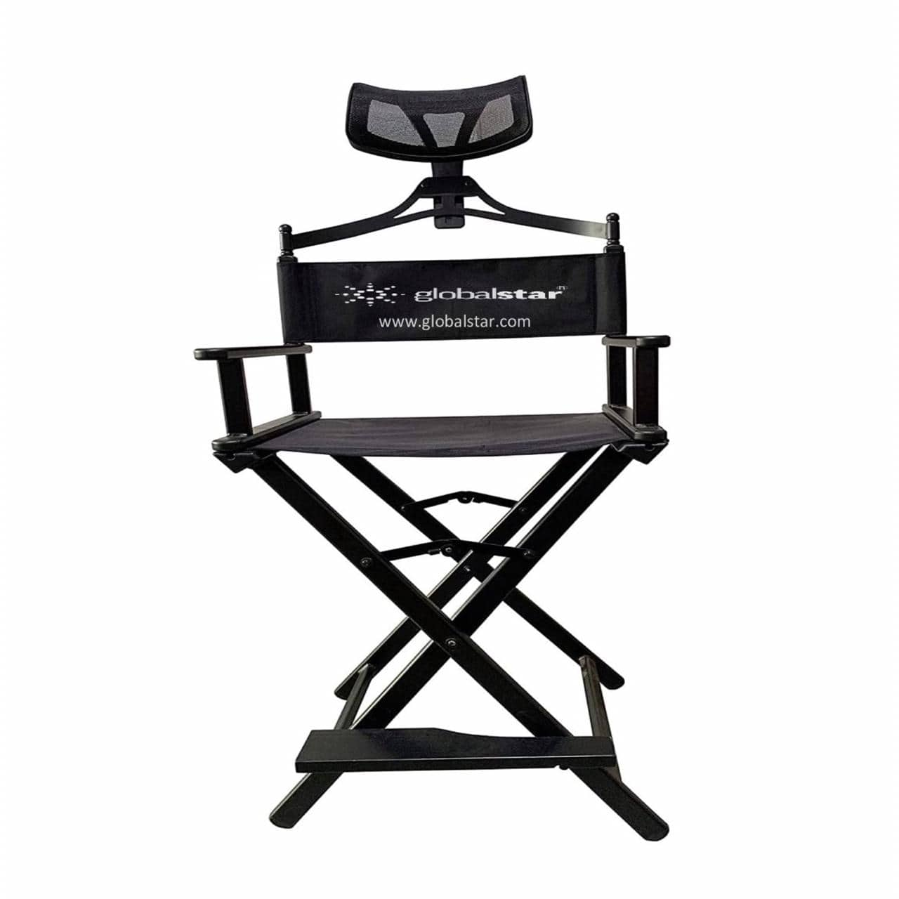 Globalstar Foldable Tall Makeup Chair With Headrest Color Black - MY739B