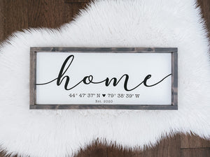HOME Coordinates Sign