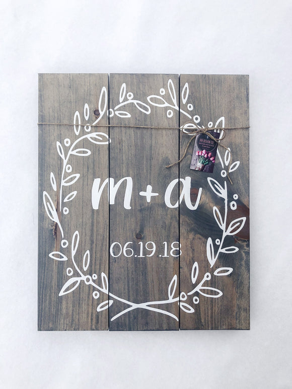 Rustic Initials Sign