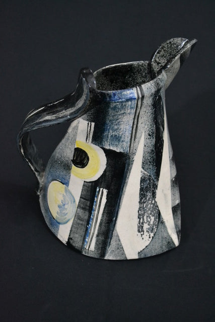 Small blue and black Jug by Paul Jackson