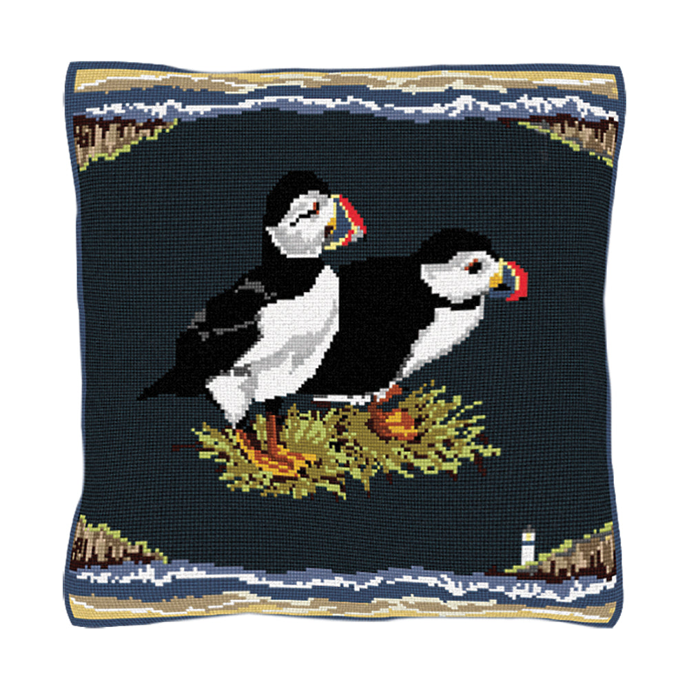 Puffins Cushion Tapestry Kit