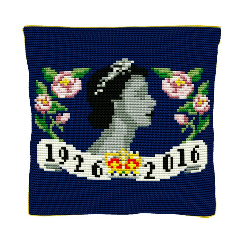 Floral 90th Birthday (Deep Blue) Cushion Tapestry Kit