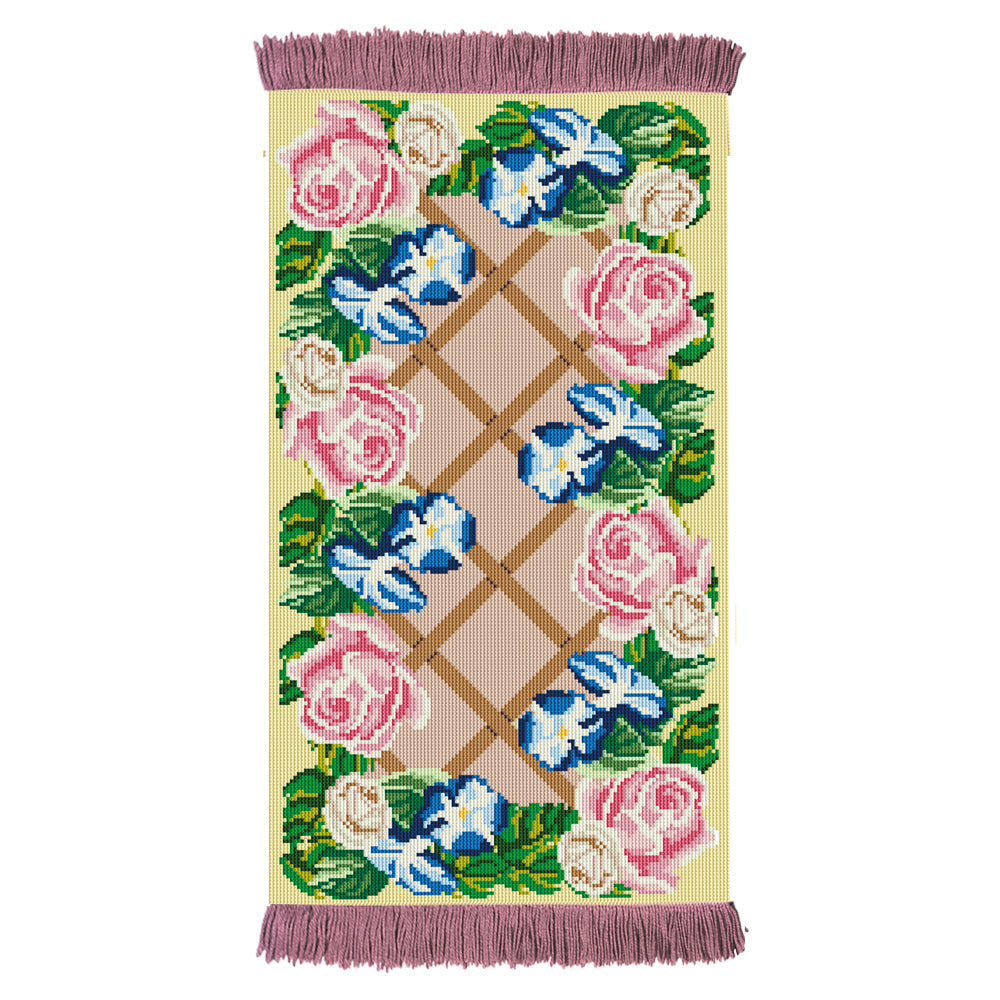 Rose Lattice Rug Tapestry Kit