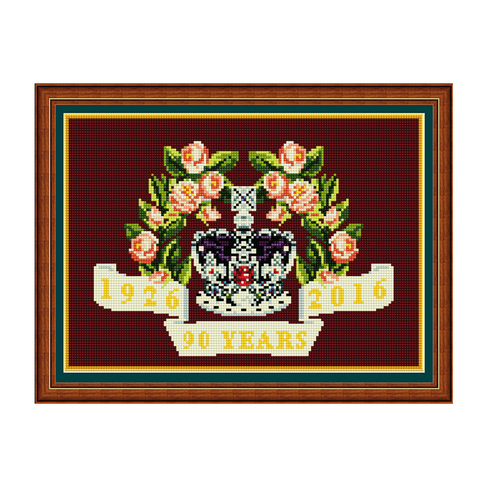 Floral 90th Birthday (Burgundy) Tapestry Picture Kit