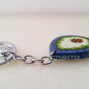 Avocado Keyring, Handmade Avocado Wooden Cross Stitch Keychain