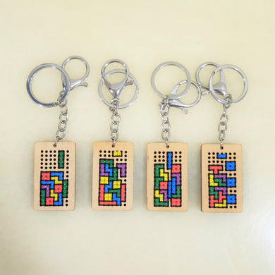 brick game cross stitch key chain