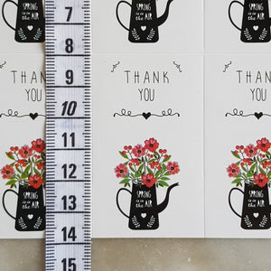 30 Pieces Flower Jar Thank You Stickers