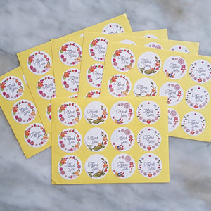 60 Pieces Floral Thank You Stickers (Oval/Round)