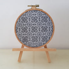 "Load image into Gallery viewer, 5"" Blackwork Embroidery Hoop Art, Backstitch on Aida"