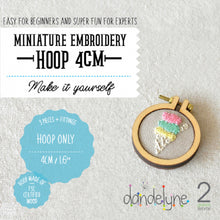 "Load image into Gallery viewer, Dandelyne 1.6"" / 1.6 inch / 4cm Mini Embroidery Hoop, Brooch and Necklace DIY Set"