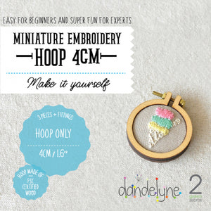 "Dandelyne 1.6"" / 1.6 inch / 4cm Mini Embroidery Hoop, Brooch and Necklace DIY Set"