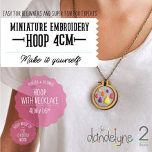 "Load image into Gallery viewer, Dandelyne 1.6"" / 1.6 inch / 4cm Mini Embroidery Necklace DIY Set"