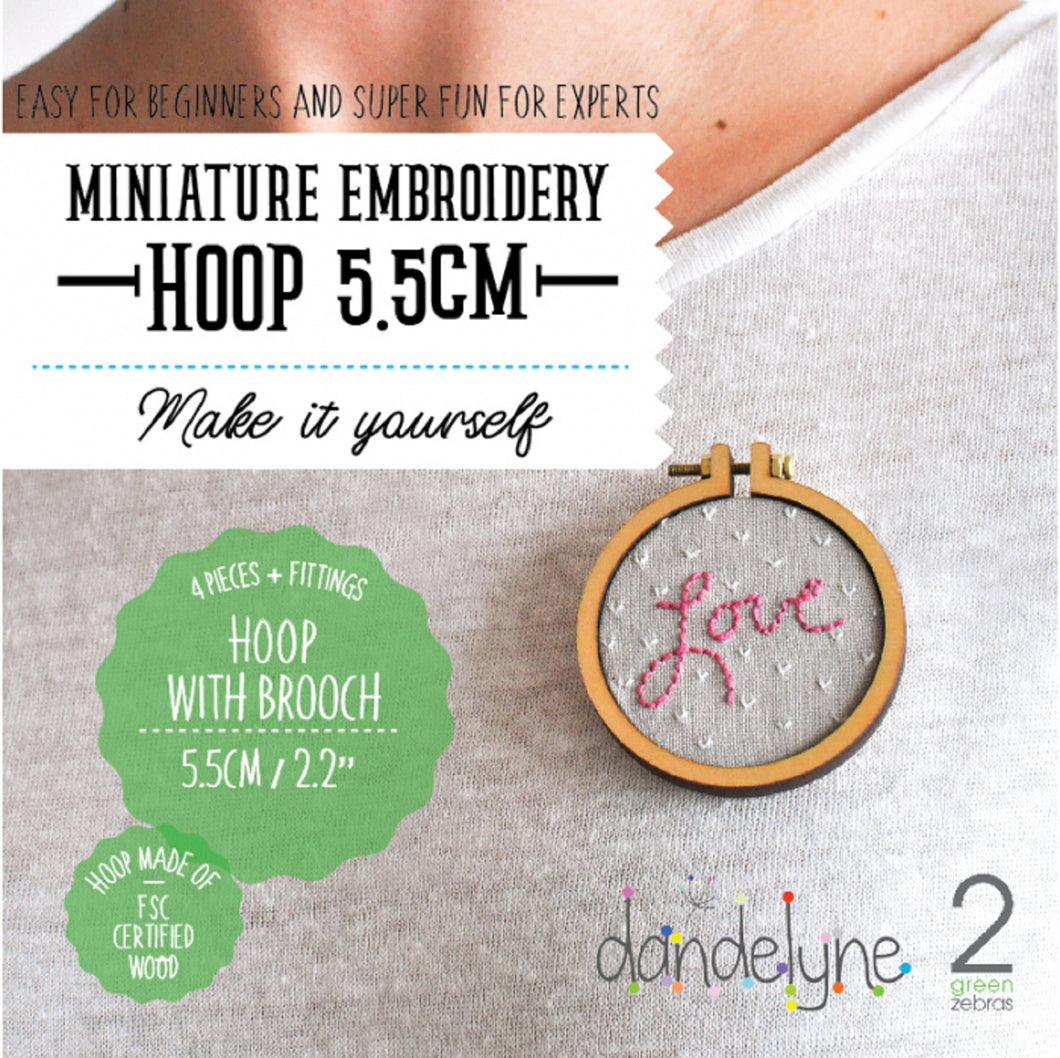 Dandelyne Mini Embroidery Hoop Brooch Set