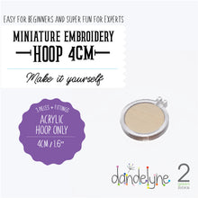 "Load image into Gallery viewer, Dandelyne 1.6"" / 1.6 inch / 4cm Mini Embroidery Acrylic Hoop Set"