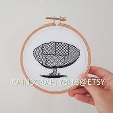 Load image into Gallery viewer, Wild Mushroom Blackwork Embroidery Hoop Art