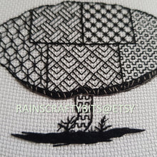 "Load image into Gallery viewer, 5"" Wild Mushroom Blackwork Embroidery Hoop Art"