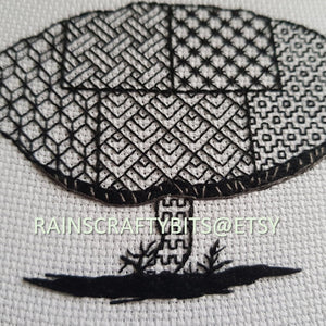 "5"" Wild Mushroom Blackwork Embroidery Hoop Art"